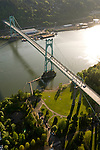 Aerial view of the St. John's bridge in north Portland, Oregon.