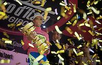 Golden boy Alberto Contador (ESP/Tinkoff-Saxo) with the 2015 Giro Trophy as overall winner<br /> <br /> Giro d'Italia 2015<br /> final stage 21: Torino - Milano (178km)