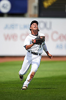 Cedar Rapids Kernels left fielder Christian Cavaness (11) catches a fly ball during a game against the Dayton Dragons on July 24, 2016 at Perfect Game Field in Cedar Rapids, Iowa.  Cedar Rapids defeated Dayton 10-6.  (Mike Janes/Four Seam Images)
