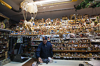 Europe,Italy,Basilicata, Matera, capital of Culture, World Heritage Site, histolrical shop Grande Emporio Morelli and his owner