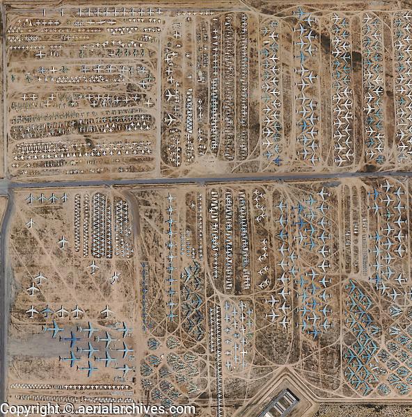 aerial photo map of the military aircraft boneyard Davis Monthan Air Force Base, Tuscon, Arizona