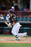Erie Seawolves outfielder Connor Harrell (15) at bat during a game against the Richmond Flying Squirrels on May 20, 2015 at Jerry Uht Park in Erie, Pennsylvania.  Erie defeated Richmond 5-2.  (Mike Janes/Four Seam Images)