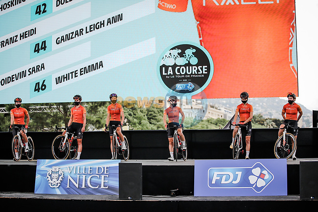 Rally Cycling at the presentation before the start of La Course By Le Tour de France 2020, running 96km from Nice to Nice, France. 29th August 2020.<br /> Picture: ASO/Thomas Maheux | Cyclefile<br /> All photos usage must carry mandatory copyright credit (© Cyclefile | ASO/Thomas Maheux)