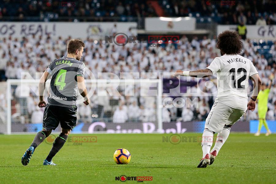 Real Madrid's Marcelo Vieira and Real Sociedad's Asier Illarramendi during La Liga match between Real Madrid and Real Sociedad at Santiago Bernabeu Stadium in Madrid, Spain. January 06, 2019. (ALTERPHOTOS/A. Perez Meca)<br />  (ALTERPHOTOS/A. Perez Meca) /NortePhoto.com