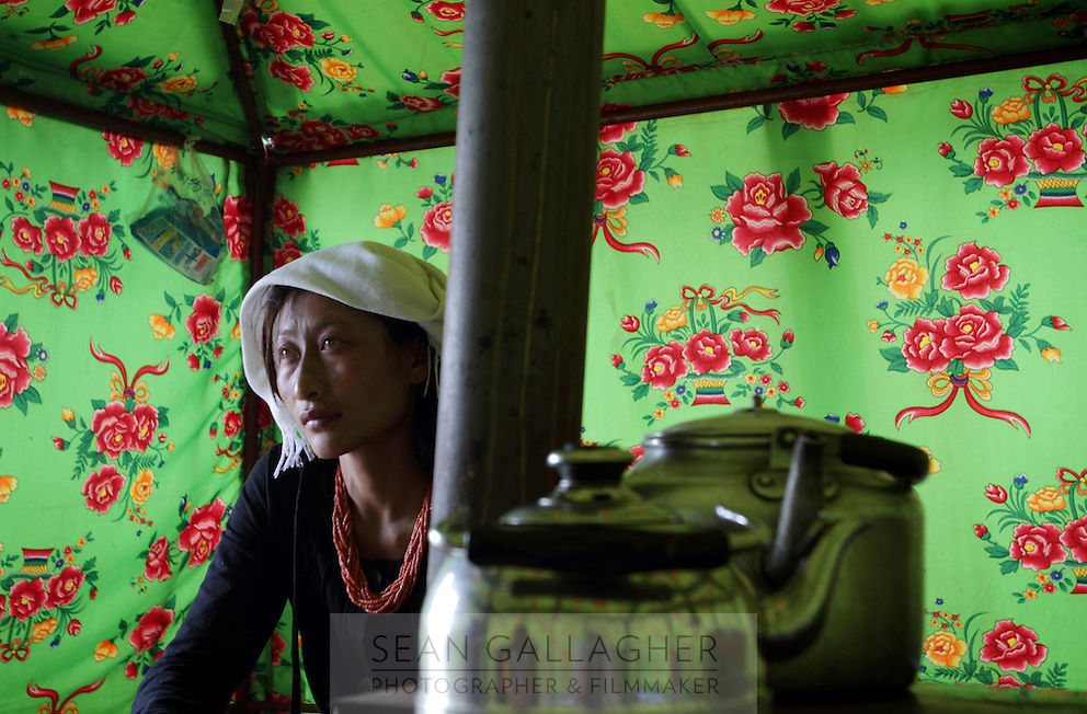 A Tibetan woman in her tent near Qinghai Lake. Thousands of Tibetan nomads have been relocated to nearby towns in an attempt to reduce the ecological deterioration around Qinghai Lake, China's largest inland body of water which lies at over 3000m on the Qinghai-Tibetan Plateau. The lake has been shrinking in recent decades, as a result of increased water-usage for local agriculture. Qinghai Province. China. 2010
