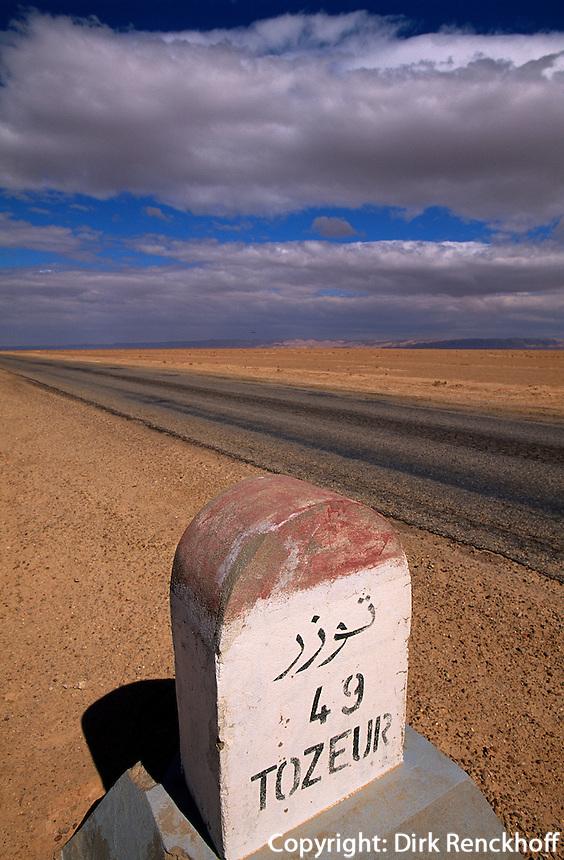 Schott el Djerid, Strasse nach Tozeur, Tunesien