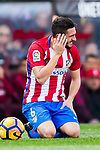 Jorge Resurreccion Merodio, Koke, of Atletico de Madrid sits on the pitch after getting injured during their La Liga match between Atletico de Madrid and FC Barcelona at the Santiago Bernabeu Stadium on 26 February 2017 in Madrid, Spain. Photo by Diego Gonzalez Souto / Power Sport Images