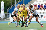 GER - Mannheim, Germany, May 24: During the U16 Girls match between Australia (green) and Germany (white) during the international witsun tournament on May 24, 2015 at Mannheimer HC in Mannheim, Germany. Final score 0-6 (0-3). (Photo by Dirk Markgraf / www.265-images.com) *** Local caption *** Emely Vysoudil #10 of Germany, Alice Arnott #6 of Australia, Sonja Zimmermann #13 of Germany