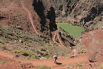 Woman descending the South Kaibab Trail to the Colorado River and Phantom Ranch Campground, Grand Canyon National Park, northern Arizona. .  John leads hiking and photo tours throughout Colorado. . John offers private photo tours in Grand Canyon National Park and throughout Arizona, Utah and Colorado. Year-round.