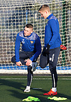 St Johnstone Training…. 06.01.21<br />John Robertson back from his loan spell at Forfar pictured with Ali McCann during training at McDiarmid Park ahead of Saturday's game against local rivals Dundee Utd.<br />Picture by Graeme Hart.<br />Copyright Perthshire Picture Agency<br />Tel: 01738 623350  Mobile: 07990 594431