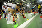 GER - Muelheim an der Ruhr, Germany, February 05: During the FinalFour final men hockey match between Rot-Weiss Koeln (whize) and Mannheimer HC (blue) on February 5, 2017 at innogy Sporthalle in Muelheim an der Ruhr, Germany. (Photo by Dirk Markgraf / www.265-images.com) *** Local caption *** Timm Haase #27 of Mannheimer HC