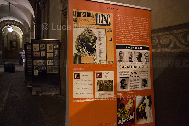 """Palazzo Mattei's exhibition """"La Razza Nemica"""" (The enemy race).<br /> <br /> Rome, 27/01/2020. Today is the International Holocaust Day, also called Holocaust Memorial Day in UK & Italy. A day designated by the UN General Assembly resolution 60/7 on 1 November 2005 to remember the victims of the Holocaust: 6 million Jews, 2 million Gypsies (Roma & Sinti), 15,000 homosexual people, and millions of others killed by the Nazi regime and its collaborators. The 27th of January (1945) marks the day of the liberation by the Soviet Union Army of the largest death camp, Auschwitz-Birkenau (75th Anniversary). To coincide with the Holocaust Memorial Day the Theater and Kunst Diletta Benincasa Foundation - Berlin (1.), supported by the Biblioteca di Storia Moderna e Contemporanea (Palazzo Mattei), promoted the event called """"Displaced"""" curated by Patrizia Bisci (2.). From the organizers press release: «The project unfolds in a path inside the old ghetto of Rome and materializes in installations, works and performances. […] the world of experiences and experimentation of the artists will thus become the ideal basis for understanding collective history. In fact, """"Displaced persons"""", a historical name with both positive and negative value, is the theme in memory of the history of Europe, when at the end of the Second World War the extermination camps were freed by the armies of the allies. Eleven million prisoners, among whom only a few thousand surviving Jews, no longer knew where to return. The houses, their lives were destroyed, occupied by others. Where to return? […]».<br /> <br /> Footnotes & Links:<br /> 1. http://bit.do/fqRC2<br /> 2. http://bit.do/fqRCF<br /> Nel Giorno Della Memoria (Source, Treccani.it) http://bit.do/fqRG5<br /> 27.01.19 Holocaust Memorial Day 2019 - Never Forget - Witnesses Of Witnesses http://bit.do/fqRXh"""