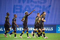LAKE BUENA VISTA, FL - JULY 16: Gyasi Zardes #11 of the Columbus Crew SC celebrates a goal during a game between New York Red Bulls and Columbus Crew at Wide World of Sports on July 16, 2020 in Lake Buena Vista, Florida.