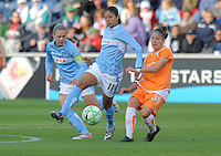 #11 Christiane of the Chicago Red Stars and # 5 Lindsay Tarpley try to move the ball up field against the defense of  #38 Julianne Sitch  of Sky Blue FC  Sky Blue FC beat the Red Star 2-0.