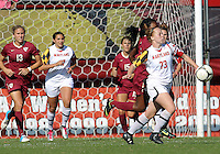 COLLEGE PARK, MD - OCTOBER 21, 2012:  Shannon Collins (73) of the University of Maryland pushes the ball clear of Jamia Fields (4) of Florida State during an ACC women's match at Ludwig Field in College Park, MD. on October 21. Florida won 1-0.