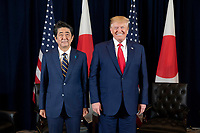 President Donald J. Trump poses for photos with Japan Prime Minister Shinzo Abe prior to participating in a trade agreement signing Wednesday, Sept. 25, 2019, at the InterContinental New York Barclay in New York City. (Official White House Photo by Shealah Craighead)