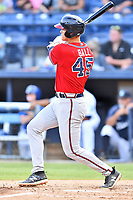 Rome Braves Bryce Ball (45) swings at a pitch during  game against the Asheville Tourists at McCormick Field on August 13, 2019 in Asheville, North Carolina. The Braves defeated the Tourists 13-8. (Tony Farlow/Four Seam Images)