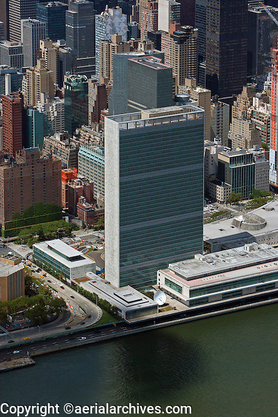 aerial photograph United Nations headquarters, east river, Manhattan, New York City