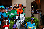 """DEL MAR, CA  AUGUST 21: #6 Master Piece, ridden by Drayden Van Dyke, in the post parade of the Del Mar Handicap (Grade ll) Breeders Cup """"Win and You're In"""" Turf Division on August 21, 2021 at Del Mar Thoroughbred Club in Del Mar, CA  (Photo by Casey Phillips/Eclipse Sportswire/CSM)"""