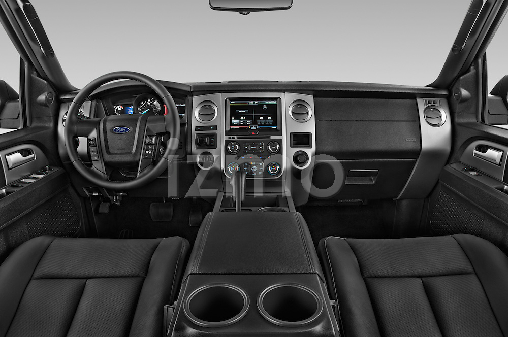 Stock photo of straight dashboard view of a 2017 Ford Expedition XLT 5 Door SUV Dashboard