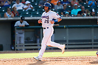 Tennessee Smokies catcher Tim Susnara (25) jogs home against the Rocket City Trash Pandas at Smokies Stadium on July 2, 2021, in Kodak, Tennessee. (Danny Parker/Four Seam Images)