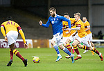 Motherwell v St Johnstone…20.02.21   Fir Park   SPFL<br />Shaun Rooney intercepts the ball that led to Guy Melamed's firsat goal<br />Picture by Graeme Hart.<br />Copyright Perthshire Picture Agency<br />Tel: 01738 623350  Mobile: 07990 594431