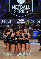 The Silver Ferns celebrate winning the Cadbury Netball Series final between NZ Silver Ferns and NZ Men at the Fly Palmy Arena in Palmerston North, New Zealand on Saturday, 24 October 2020. Photo: Dave Lintott / lintottphoto.co.nz