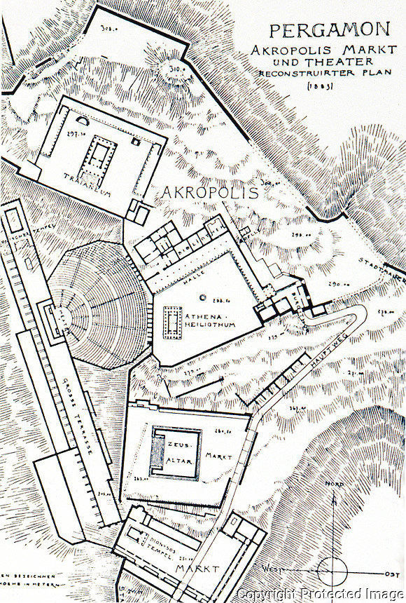 Greek Art:  Pergamon, plan, Acropolis.  Gutkind, IV, 576.