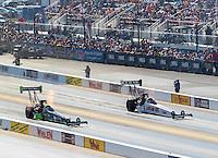 Sep 17, 2016; Concord, NC, USA; NHRA top fuel driver Clay Millican (left) alongside Richie Crampton during qualifying for the Carolina Nationals at zMax Dragway. Mandatory Credit: Mark J. Rebilas-USA TODAY Sports