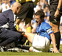 21/08/2005         Copyright Pic : James Stewart.File Name : jspa40 rangers v celtic.BARRY FERGUSON RECEIVES TREATMENT FOR AN INJURY RECEIVED DURING A CHALLENGE BY BOBO BALDE WHICH HAS ALL BUT RULED HIM OUT OF THE CHAMPIONS LEAGUE QUALIFIER AGAINST FAMAGUSTA.... .Payments to :.James Stewart Photo Agency 19 Carronlea Drive, Falkirk. FK2 8DN      Vat Reg No. 607 6932 25.Office     : +44 (0)1324 570906     .Mobile   : +44 (0)7721 416997.Fax         : +44 (0)1324 570906.E-mail  :  jim@jspa.co.uk.If you require further information then contact Jim Stewart on any of the numbers above.........