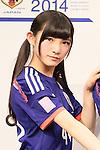 Adidas Japan football ambassador Nana Okada launch 'AKB 48 marking adidas Japan football team uniform' sale starting at Alpen Co, Ltd. in Tokyo on 3rd March 2014. (Photo by Motoo Naka/NipponNews)