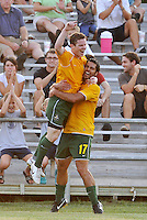 Mike Ambersley celbrates his second goal for AC St Louis with #17 Brad Stisser...AC St Louis defeated Portland Timbers 3-0 at Anheuser-Busch Soccer Park, Fenton, Mssouri.