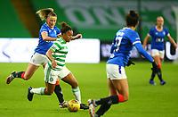 21st April 2021; Celtic Park, Glasgow, Scotland; Scottish Womens Premier League, Celtic versus Rangers; Mariah Lee of Celtic Women takes on Chelsea Cornet of Rangers Women
