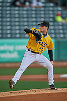 Salt Lake Bees starting pitcher Thomas Pannone (22) delivers a pitch to the plate against the Tacoma Rainiers at Smith's Ballpark on May 16, 2021 in Salt Lake City, Utah. The Bees defeated the Rainiers 8-7. (Stephen Smith/Four Seam Images)