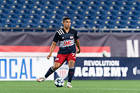 FOXBOROUGH, MA - SEPTEMBER 1: Damian Rivera #72 of New England Revolution II passes the ball during a game between FC Tucson and New England Revolution II at Gillette Stadium on September 1, 2021 in Foxborough, Massachusetts.