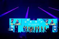 Sport Vlaanderen Baloise pre race team presentation in the infamous 'Kuipke' velodrome. <br /> <br /> 75th Omloop Het Nieuwsblad 2020 (BEL)<br /> Men Elite Race<br /> Gent – Ninove: 200km<br /> <br /> ©kramon