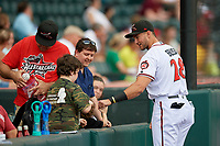 Richmond Flying Squirrels Gio Brusa (28) interacts with young fans before an Eastern League game against the Binghamton Rumble Ponies on May 29, 2019 at The Diamond in Richmond, Virginia.  Binghamton defeated Richmond 9-5 in ten innings.  (Mike Janes/Four Seam Images)