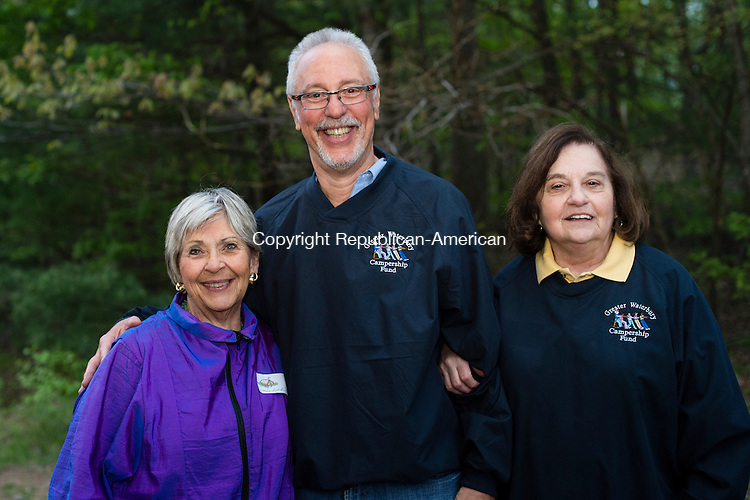 WATERTOWN, CT- 20 May 2016-052016EC22-  Social Moments. L to R: Selma Frohn, Dr. Peter Jacoby and Joyce DeCesare attend the Greater Waterbury Campership Fund's annual fundraiser Thursday night. The event was at the Greater Waterbury YMCA's Camp Mataucha in Watertown. All money raised goes directly to the cost of sending children to camp. Erin Covey Republican-American Erin Covey Republican-American