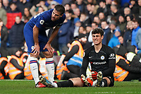 Chelsea's Cesar Azpilicueta checks on teammate Kepa Arrizabalaga<br /> <br /> Photographer Stephanie Meek/CameraSport<br /> <br /> The Premier League - Chelsea v Everton - Sunday 8th March 2020 - Stamford Bridge - London<br /> <br /> World Copyright © 2020 CameraSport. All rights reserved. 43 Linden Ave. Countesthorpe. Leicester. England. LE8 5PG - Tel: +44 (0) 116 277 4147 - admin@camerasport.com - www.camerasport.com