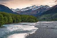 View into Rees Valley across Rees River near Glenorchy, Mt. Aspiring National Park, Central Otago, UNESCO World Heritage Area, New Zealand