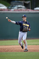Denis Karas (4) of the California Bears throws to first base during a game against the UCLA Bruins at Jackie Robinson Stadium on March 25, 2017 in Los Angeles, California. UCLA defeated California, 9-4. (Larry Goren/Four Seam Images)