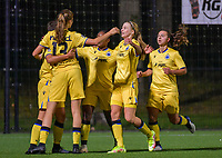 Esther Buabadi (24) of Club Brugge pictured celebrating with teammates after scoring a goal during a female soccer game between Sporting Charleroi and Club Brugge YLA on the sixth matchday in the 2021 - 2022 season of Belgian Scooore Womens Super League , friday 8 October 2021 in Marcinelle , Belgium . PHOTO SPORTPIX | STIJN AUDOOREN