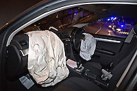 Deployed airbags and broken windscreen in an Audi A4 after a RTC. This image may only be used to portray the subject in a positive manner..©shoutpictures.com..john@shoutpictures.com
