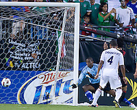 Cuba goalkeeper Oedelin Molina watches helplessly as the ball goes by for Cuba's second goal.  Mexico vs Cuba in the first round of the Concacaf Gold Cup at Bank of America Stadium in Charlotte North Carolina, Mexico won 5-0