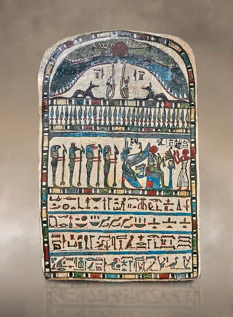 Ancient Egyptian stele dedicated by high priest Padiamenemipet to Ra-Harakhty, limestone, Late Period, 26th Dynasty, (580-520 BC), Deir el-Medina, Cat 1574. Egyptian Museum, Turin. <br /> <br /> the round topped stele is dedicated by high priest Padiamenemipet to Ra-Harakht, Isis and the 4 sons of Horus. It was gifted by the Cairo Museum.