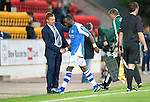 St Johnstone v Eskisehirspor...26.07.12  Europa League Qualifyer.Gregory Tade gets a pat on the back as he is subbed by Steve Lomas.Picture by Graeme Hart..Copyright Perthshire Picture Agency.Tel: 01738 623350  Mobile: 07990 594431