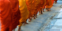 Buddhist Monks in the morning in Battambang Cambodia