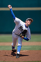 UCLA starting pitcher Trevor Bauer in Game 13 of the NCAA Division One Men's College World Series on June 26th, 2010 at Johnny Rosenblatt Stadium in Omaha, Nebraska.  (Photo by Andrew Woolley / Four Seam Images)