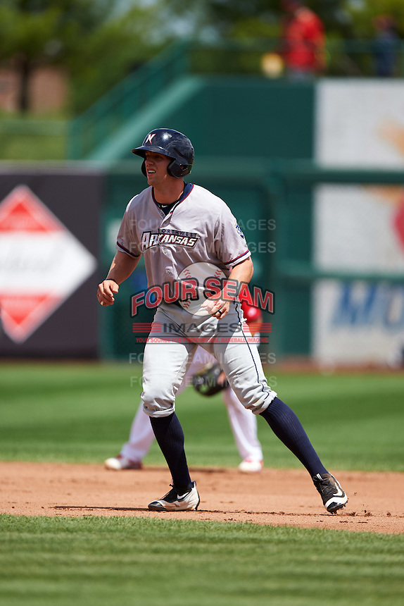 Northwest Arkansas Naturals designated hitter Hunter Dozier (24) leads off second during a game against the Springfield Cardinals on April 27, 2016 at Hammons Field in Springfield, Missouri.  Springfield defeated Northwest Arkansas 8-1.  (Mike Janes/Four Seam Images)
