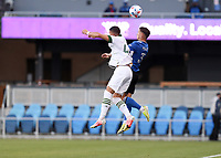 SAN JOSE, CA - MAY 15: Paul Marie #3 of the San Jose Earthquakes passes leaps high for a head ball during a game between Portland Timbers and San Jose Earthquakes at PayPal Park on May 15, 2021 in San Jose, California.